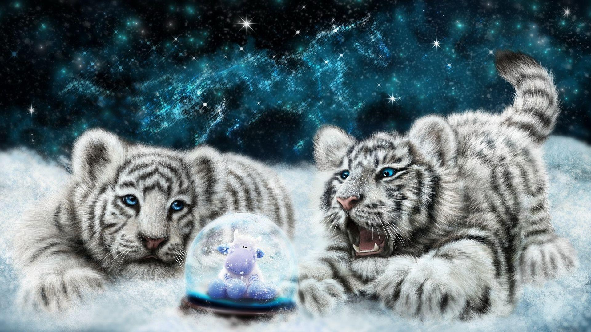 Animated Snow Wallpaper White Tiger Cubs Looking At The Snowglobe Hd Desktop