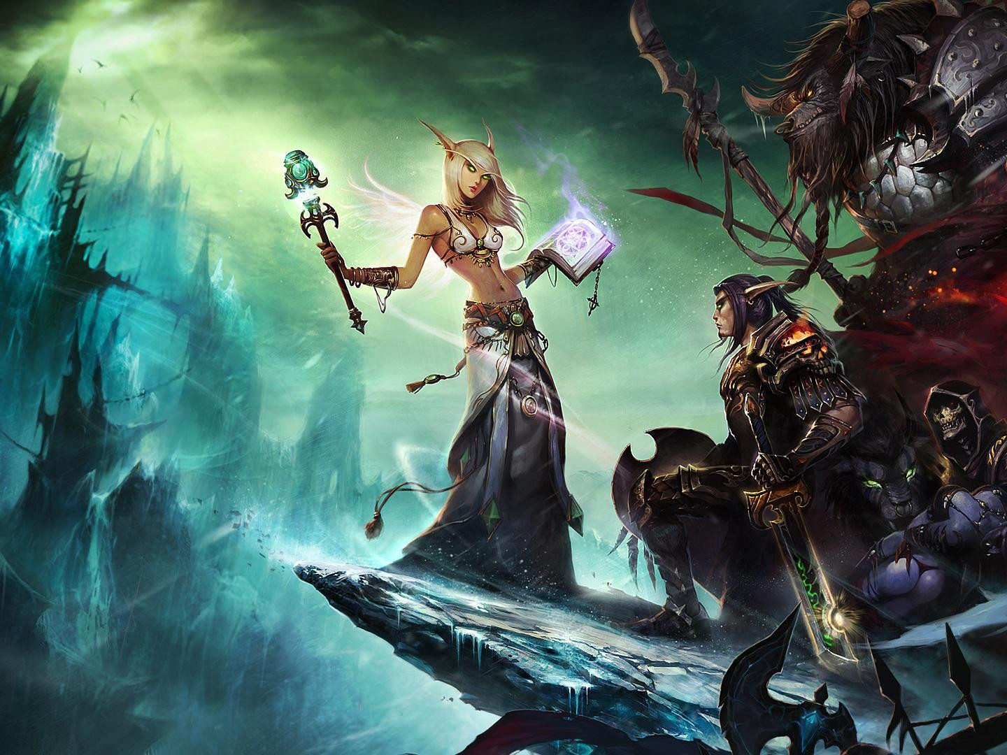 Libros De World Of Warcraft Fondo De Pantalla De World Of Warcraft Hembra Cielo