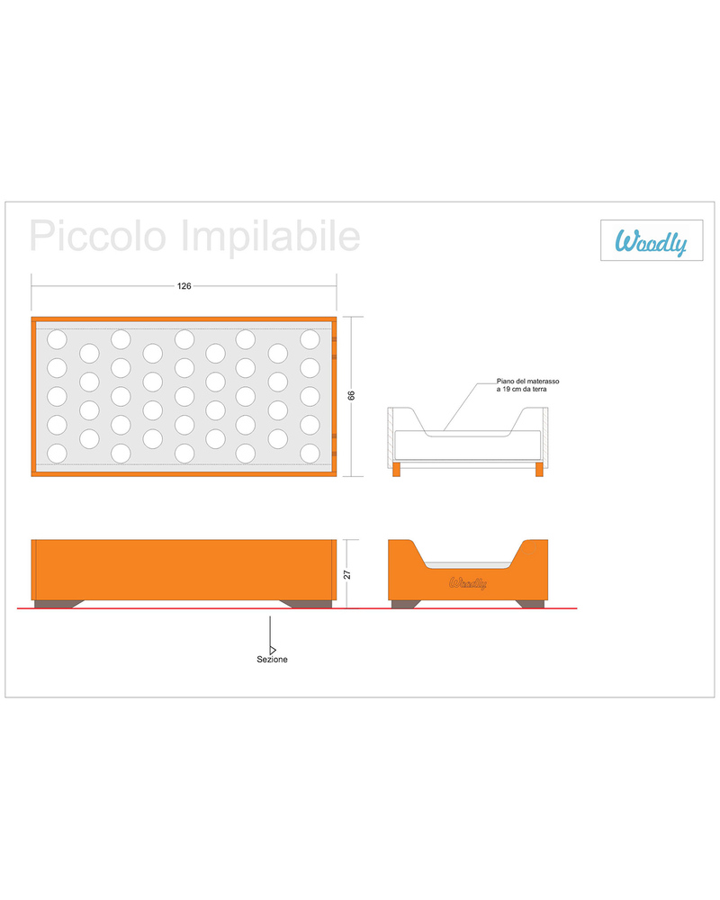 Woodly Lettino Montessori Impilabile Small Bianco Shabby 120x60 Xm Made In Italy Unisex Bambini