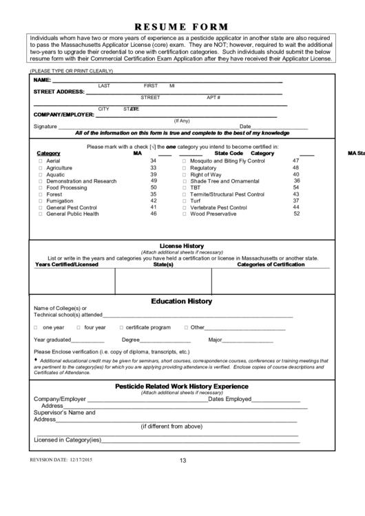 resume application form pdf download