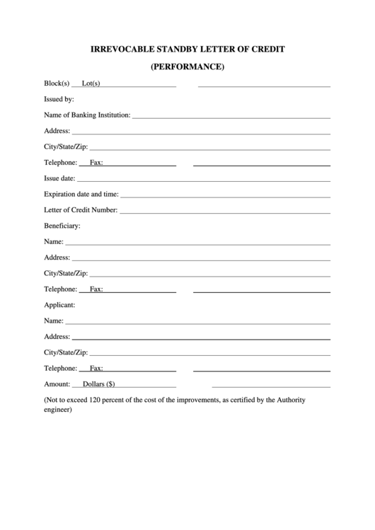 irrevocable standby letter of credit template