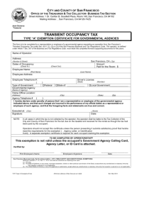 """Transient Occupancy Tax Type """"A"""" Exemption Certificate For ..."""