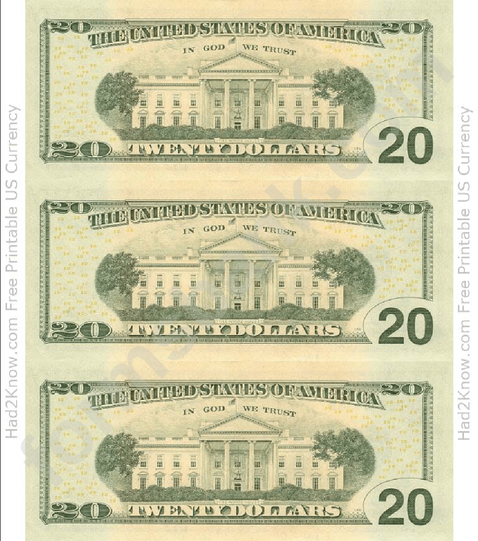 photo about Printable 20 Dollar Bill titled Blank 20 Greenback Monthly bill Template Printable Pdf Down load