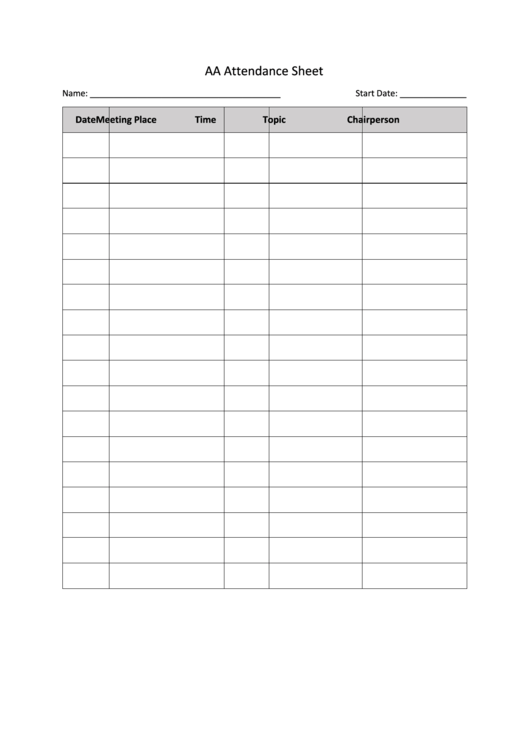 picture about Printable Aa Attendance Sheet identify Convention Attendance Sheet - Resume Illustrations Resume Template