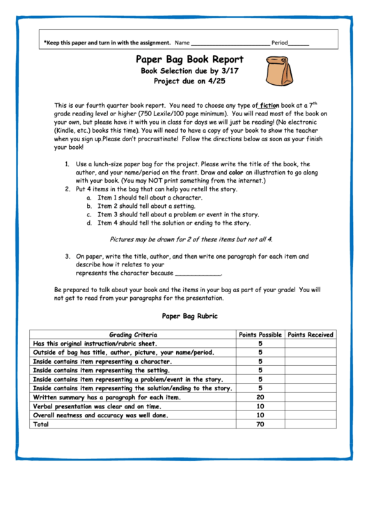 Resume Paper Paper Bag Book Report Template (sample) Printable Pdf Download