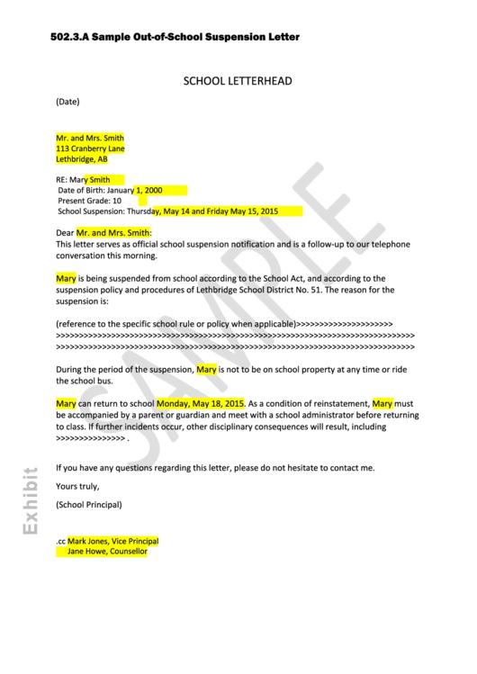 school letter template
