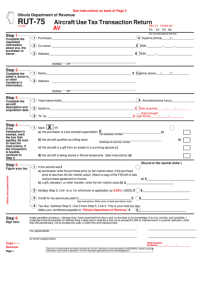 Form Rut-75 Aircraft Use Tax Transaction Return - Illinois ...