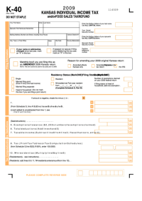 Fillable Form K-40 - Kansas Individual Income Tax And/or ...