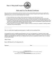 Sales And Use Tax Resale Certificate Template - State Of ...