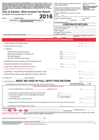 Ohio Income Tax Return - City Of Canton - 2016 printable ...