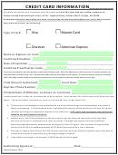 Credit Card Information Sheet printable pdf download