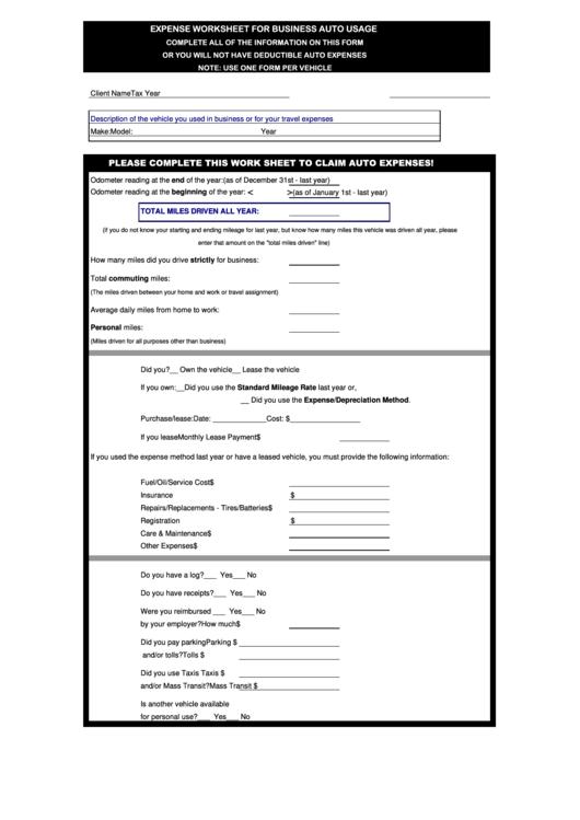 auto expense worksheet