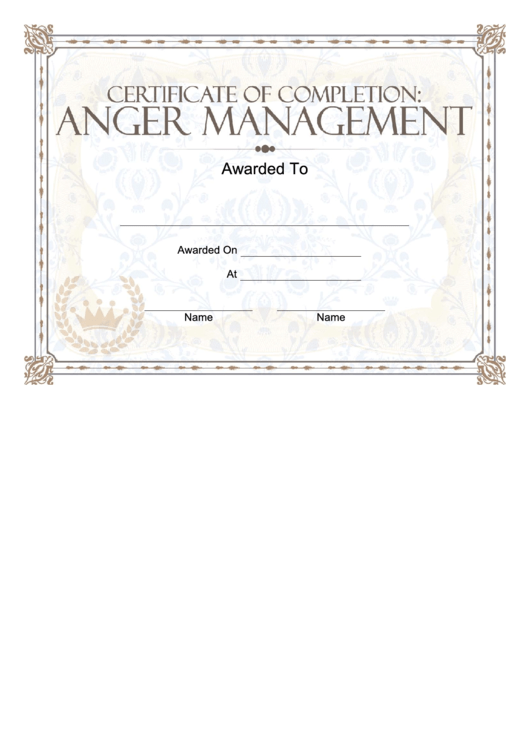 anger management certificate template