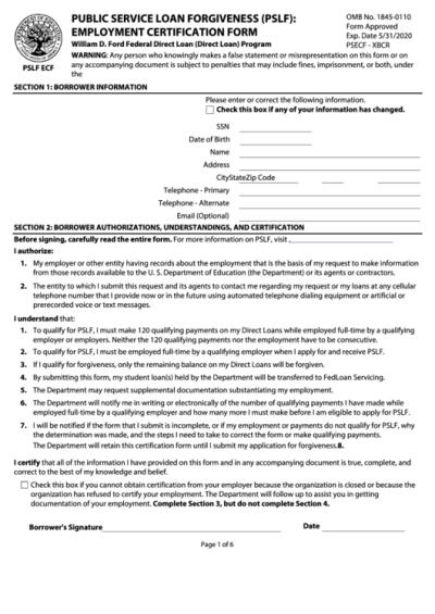 Fillable Employment Certification Form - Public Service Loan Forgiveness (Pslf) - Department Of ...