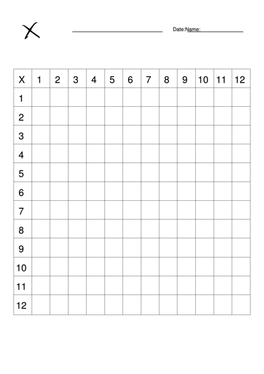 12 X 12 Table 12 X 12 Times Table Chart (blank) Printable Pdf Download