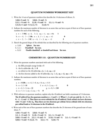 Quantum Numbers Worksheet Key printable pdf download