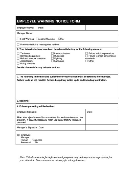 warning notice form