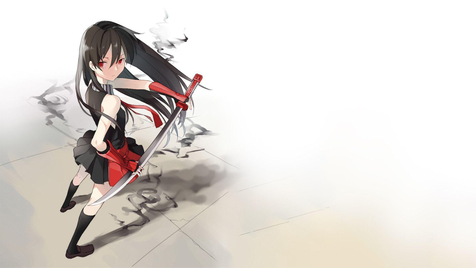 Cute Baby Angel Wallpaper Hd Akame Holding Her Red Sword Akame Ga Kill Wallpaper