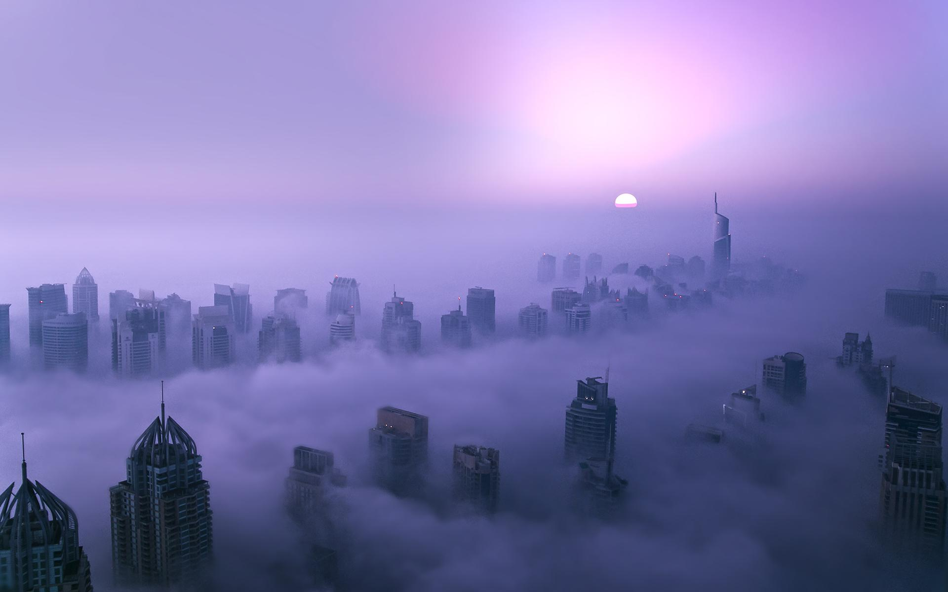 Animated Happy New Year D Hd Buildings Skyscrapers Purple Dubai Sunset Free Desktop