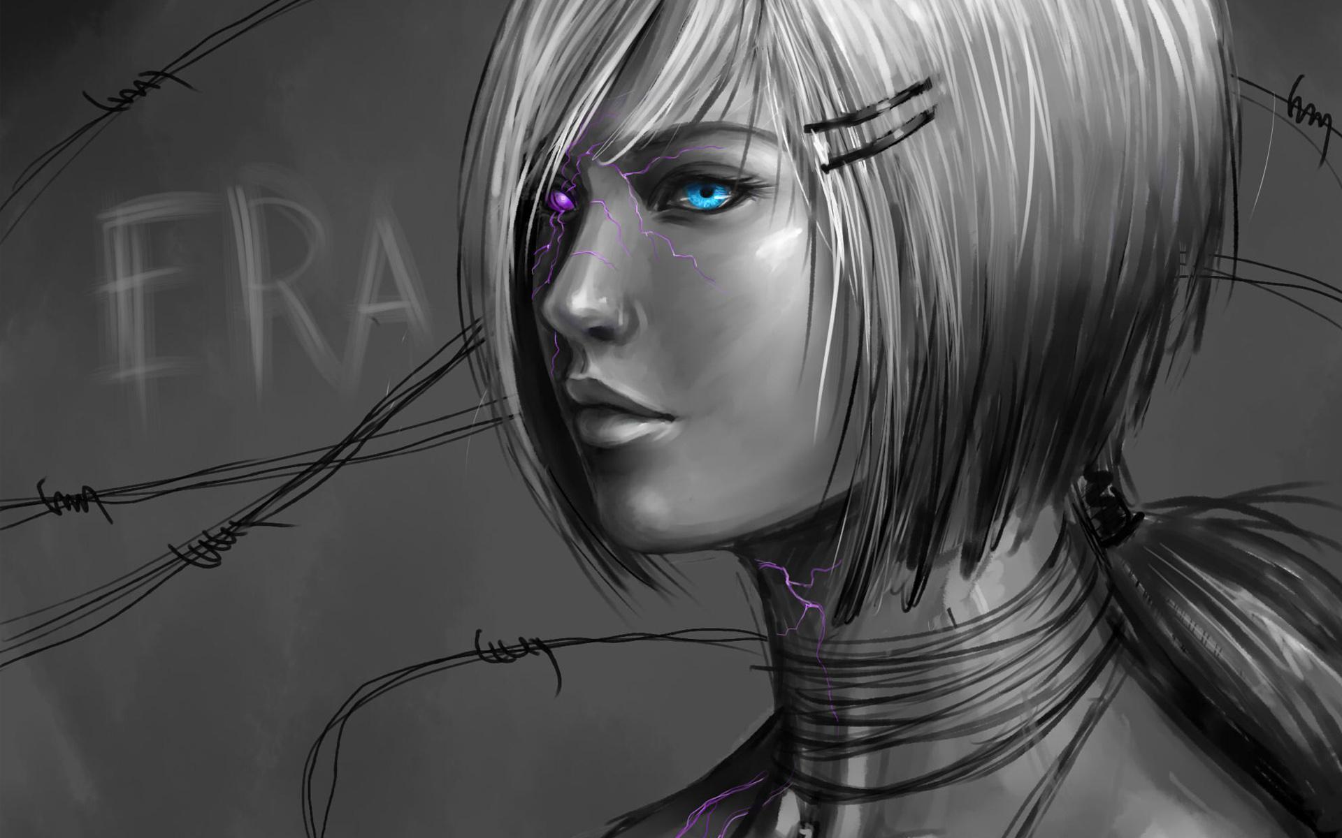 Tiger Cute Drawing Wallpaper Hd Drawing Rilun Girl Eyes Art Cyborg Hd Resolution