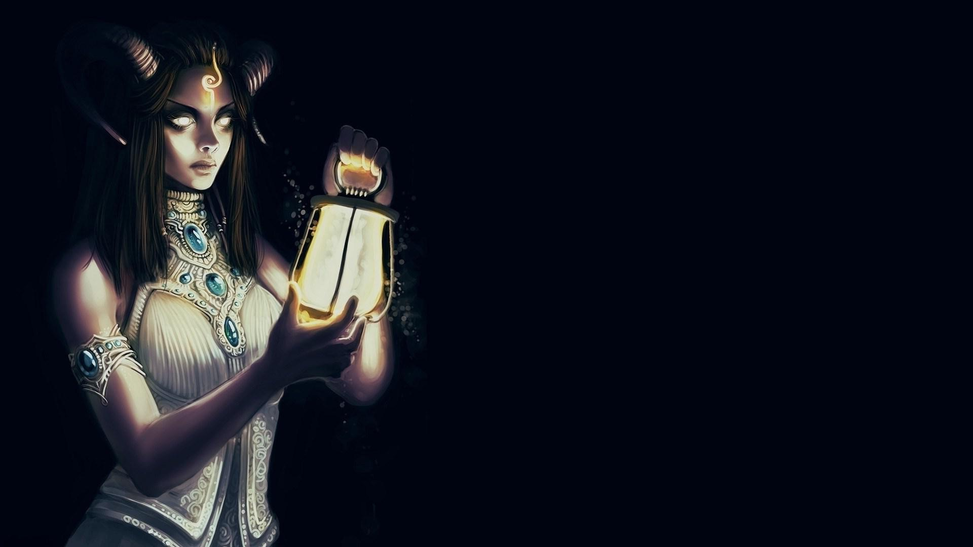 Free Download Cute Baby Wallpaper For Pc Hd Fantasy Horror Girl Holding Lamp Wallpaper Download