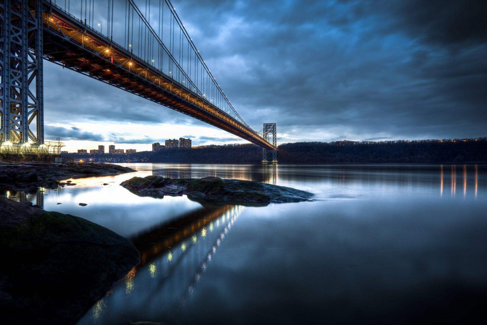Good Night 3d Moving Wallpaper Hd George Washington Bridge Manhattan New Jersey Hudson
