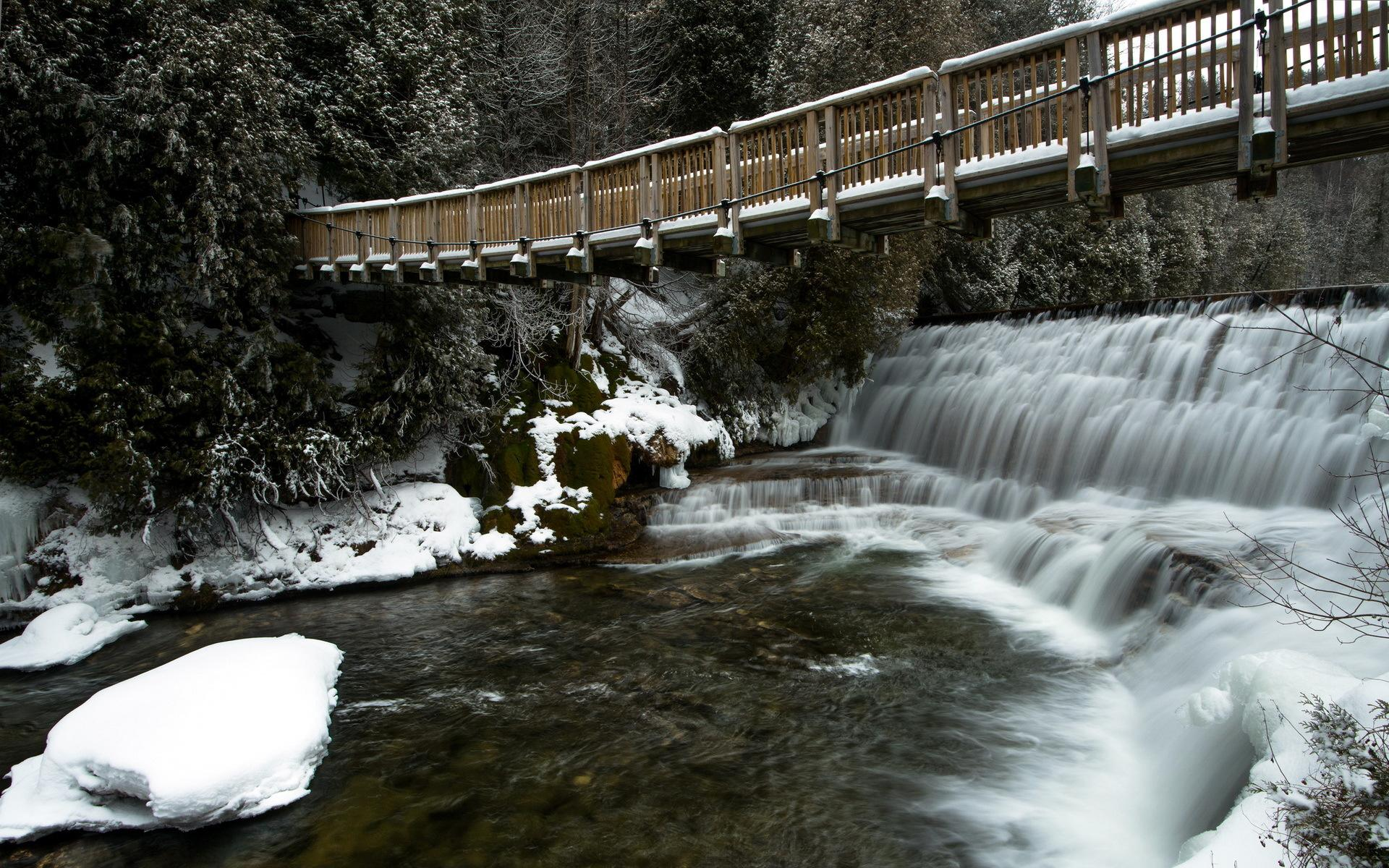 Animated Waterfalls Wallpapers Free Download Hd River Bridge Winter Landscape Waterfall Hd Pictures