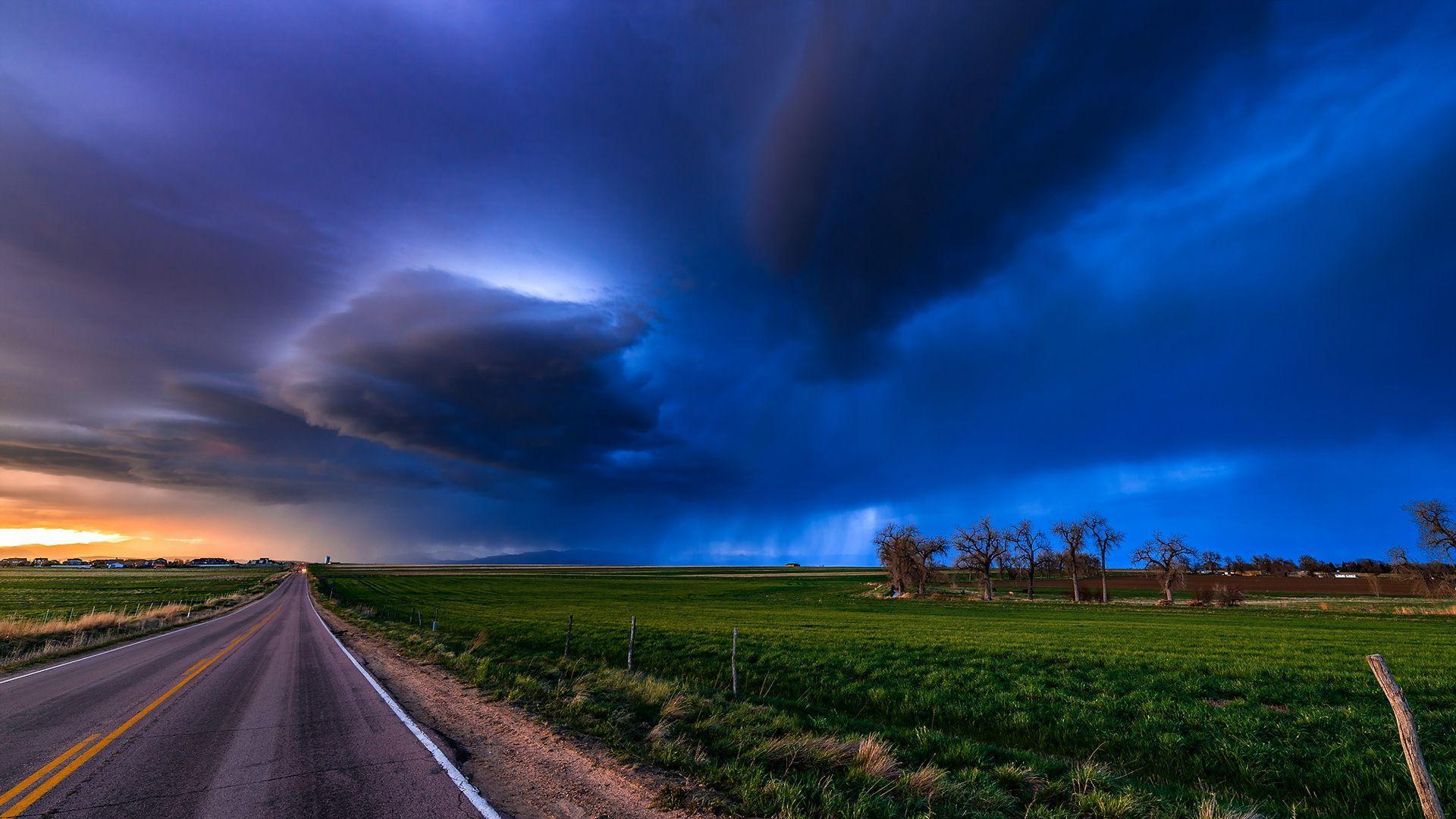 Cute Animated Merry Christmas Wallpaper Hd Stormy Clouds Above The Road Wallpaper Download Free