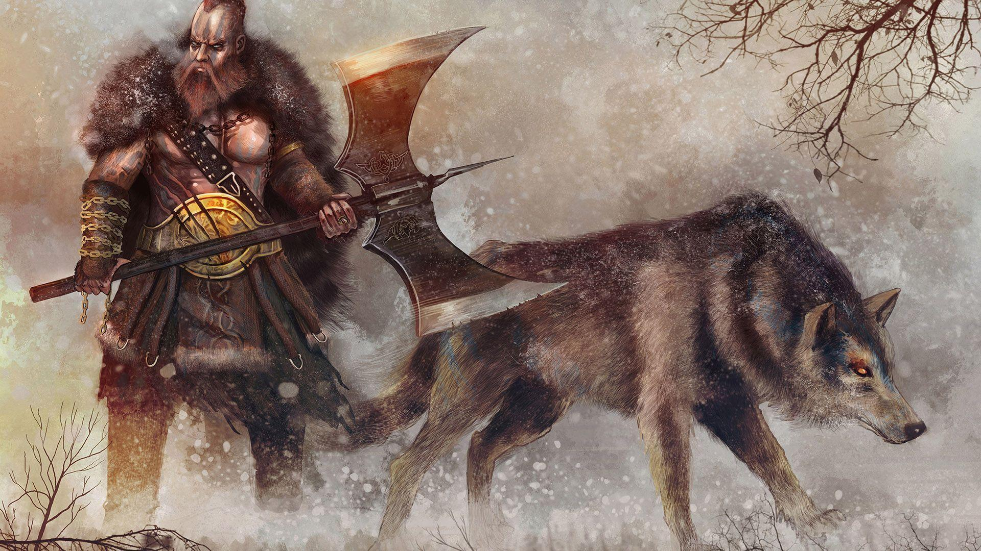 Free Animated Autumn Wallpaper Hd Warrior And His Wolf In The Snow Wallpaper Download