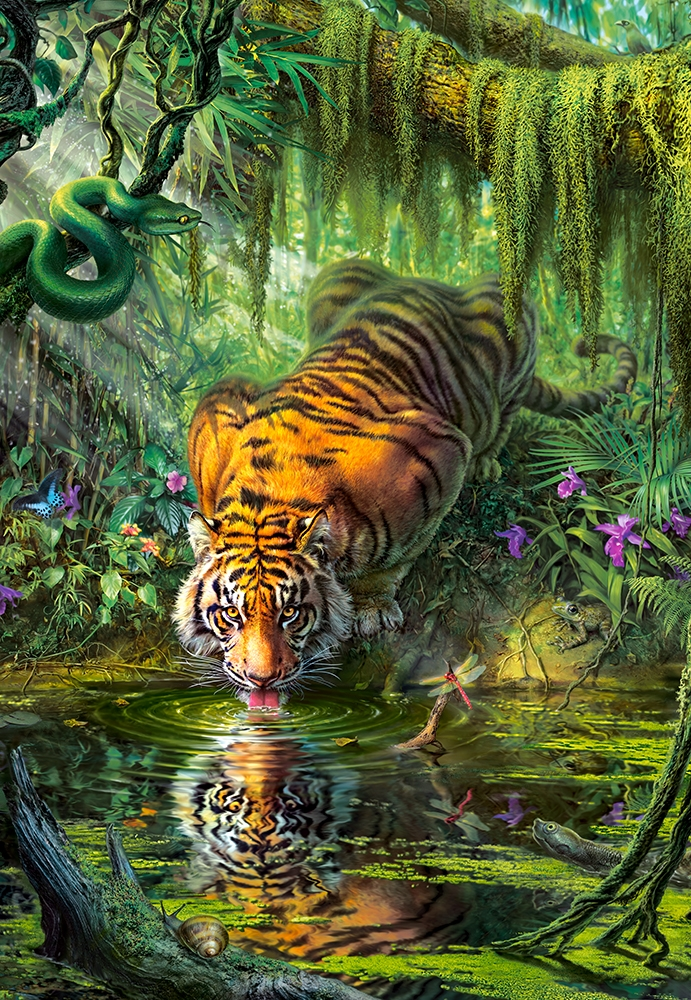 Jungle Wallpaper With Animals Puzzle Tiger In The Jungle Castorland 103935 1000 Pieces