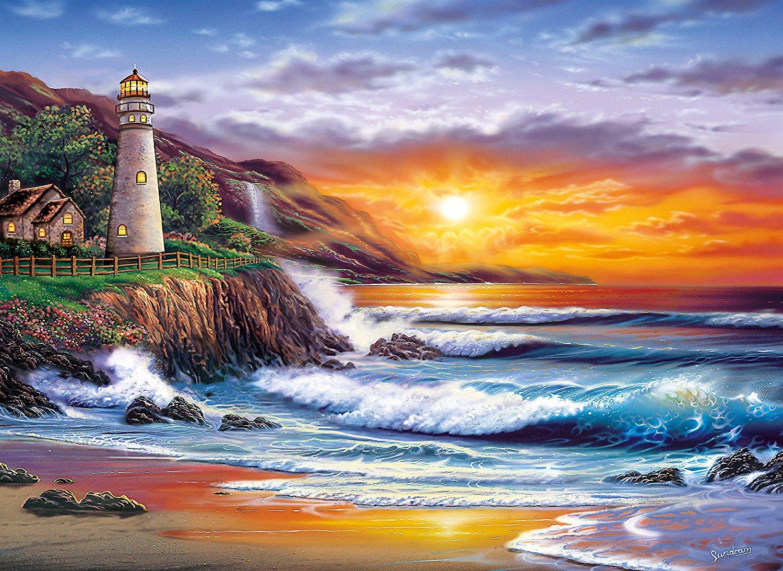 Thomas Kinkade Fall Wallpaper Puzzle Sundram Lighthouse At Sunset Clementoni 39368 1000