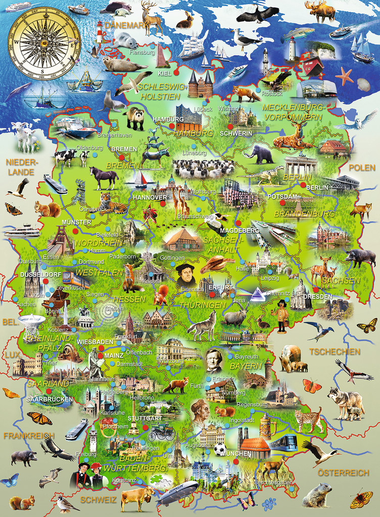 Puzzle Für Kinder Puzzle Xxl Pieces - Map Of Germany Ravensburger-10049 150