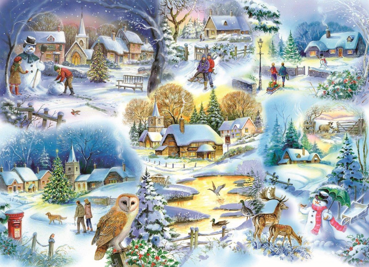 Christmas Snow Falling Wallpaper Puzzle Let It Snow The House Of Puzzles 1745 1000 Pieces