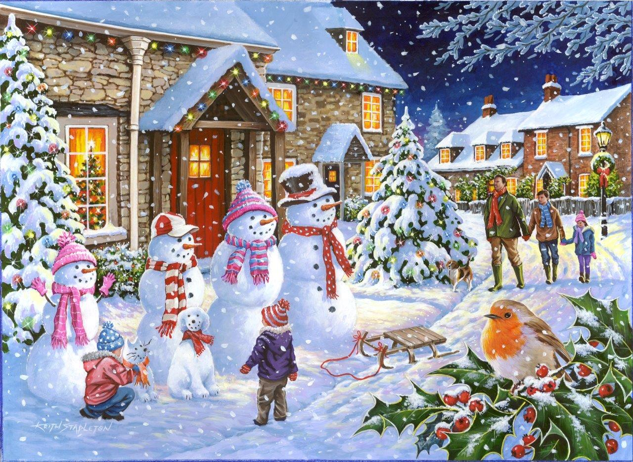 Fall Farm Desktop Wallpaper Puzzle Snow Family The House Of Puzzles 4258 1000 Pieces