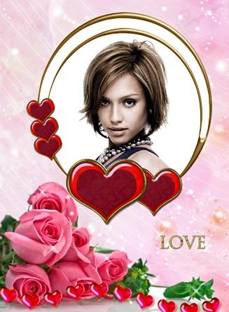 Montaje fotografico Love Rosas Corazones - Pixiz