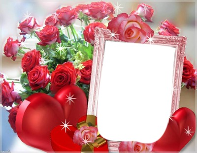 Photo montage rosas y corazones - Pixiz