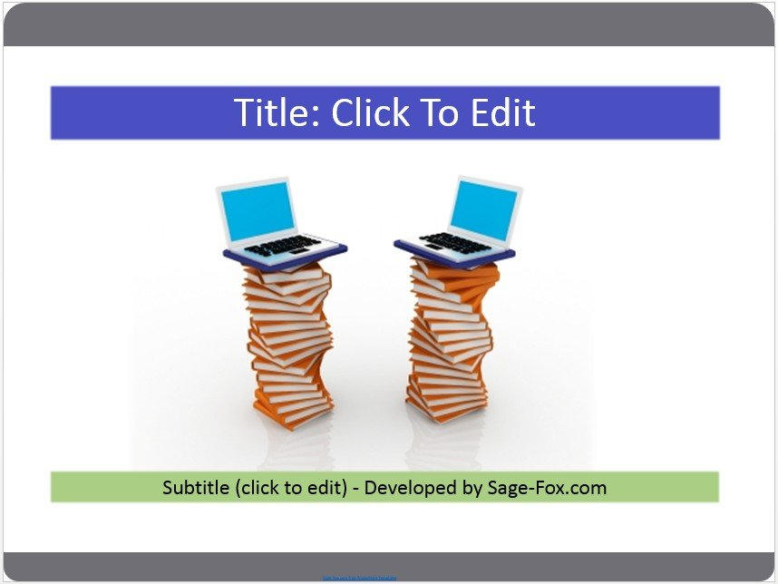 Free books and computer powerpoint template #3953 SageFox - powerpoint books