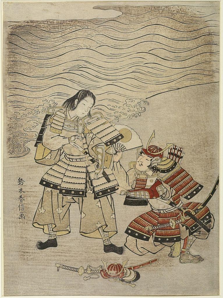 Suzuki harunobu warriors kumagai naozane and taira no
