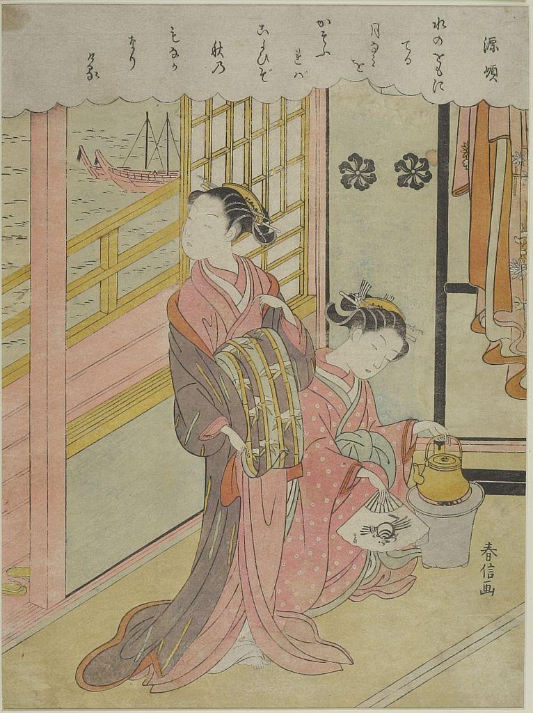 Suzuki harunobu looking at edo bay edo period circa