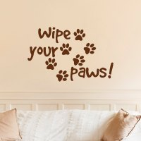 Wipe Your Paws Wall Decal Quote Dog Paw Print- Dog Quote ...
