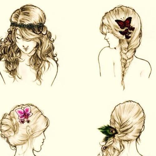 Как нарисовать причёски девушек карандашом