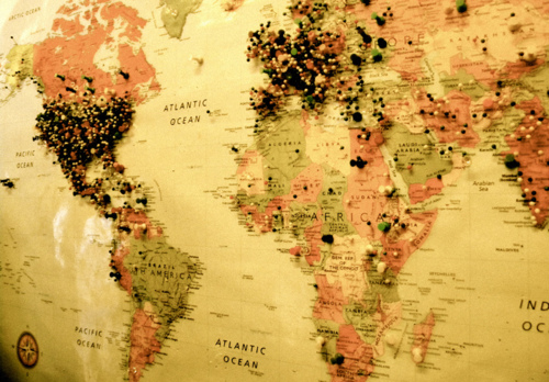 world map with pins uploaded by Eirene on We Heart It