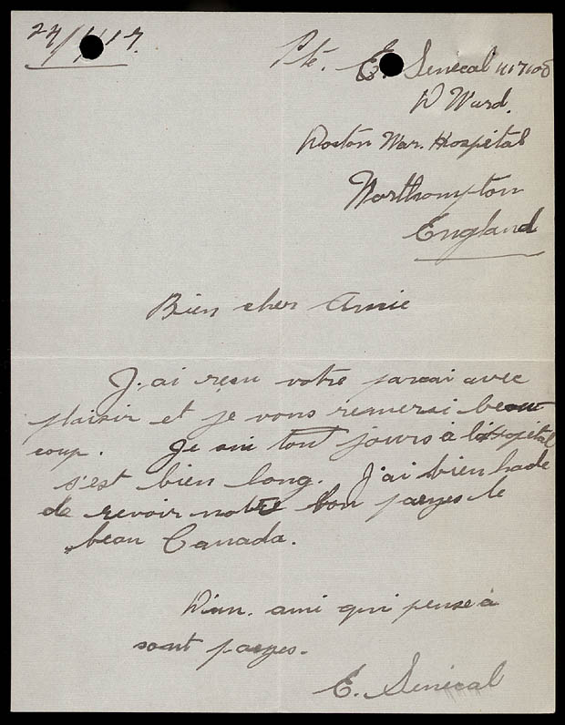 ARCHIVED - Letter from Soldier Édouard Sénécal to the Ottawa Women\u0027s