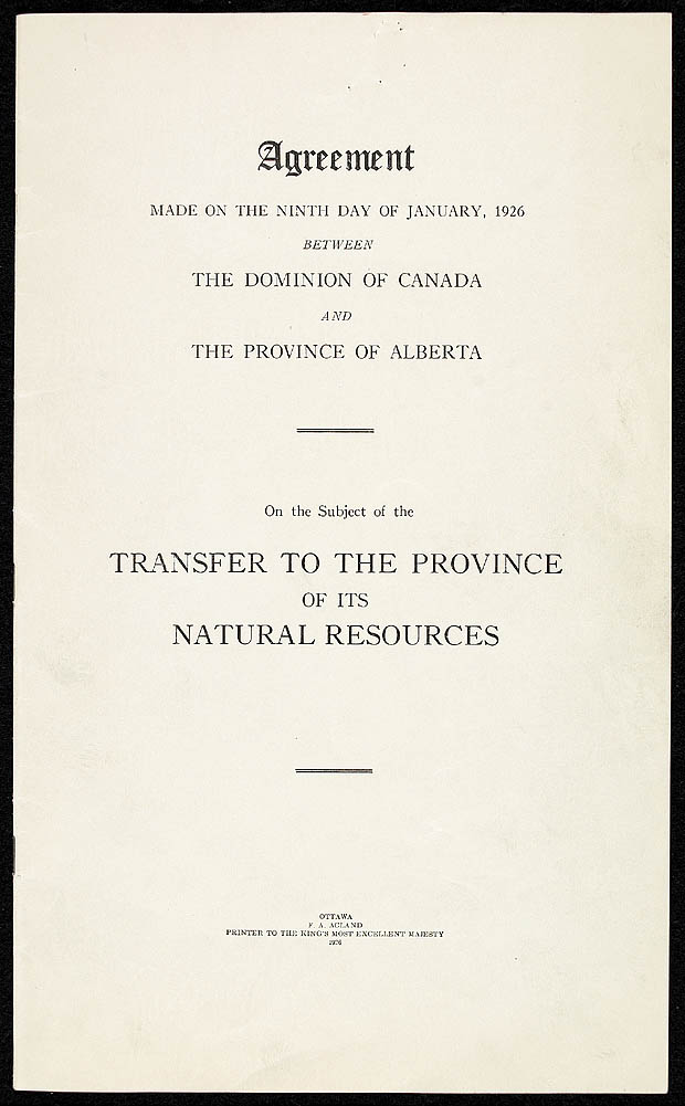 ARCHIVED - Agreement to transfer natural resource administration to