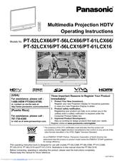 Panasonic PT-52LCX16-B Manuals