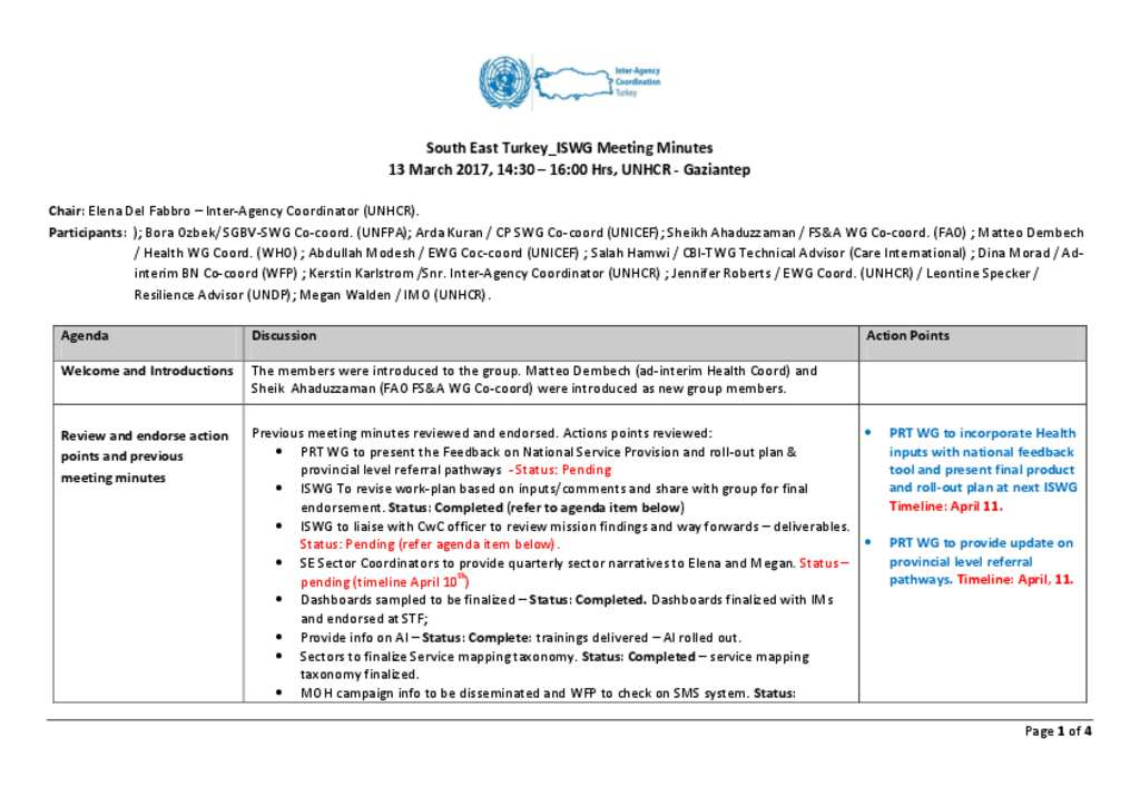 Document - South East Turkey ISWG Meeting Minutes