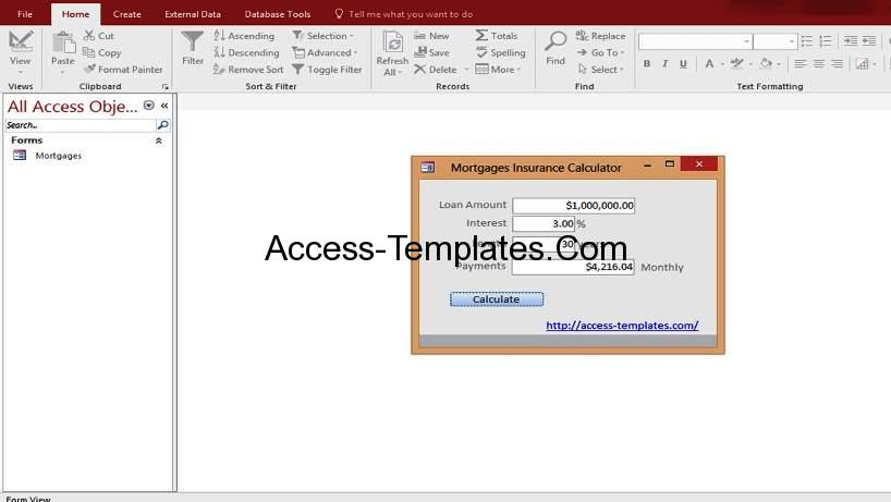 Microsoft Access Mortgage Payoff Payment Rates Calculator Templates - loan calculator template