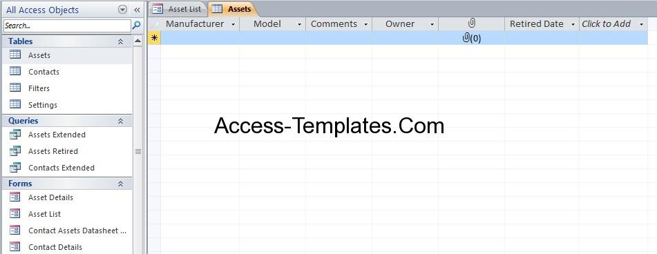 access templates free download