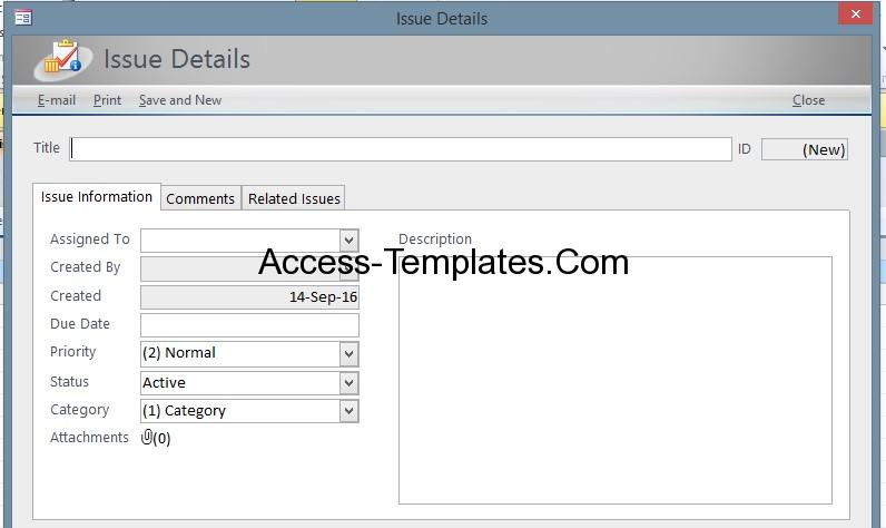 Access Issues Tracking Templates for MS Access 2013 and 2016