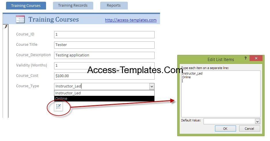 Employee Training Plan Template for Microsoft Access Access